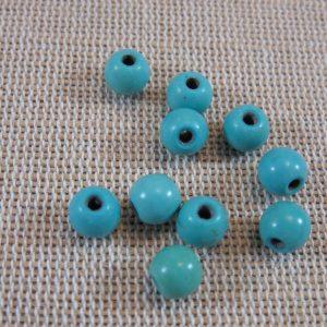 Perles Howlite bleu effet pierre turquoise 6mm ronde – lot de 20