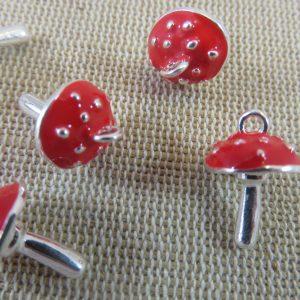 Breloques Champignon Amanite métal argenté et rouge – lot de 5