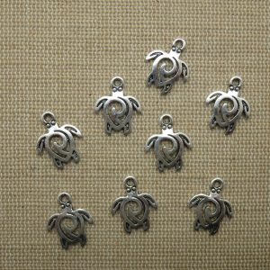 Pendentifs tortue de mer argenté 16x12mm en métal – lot de 8