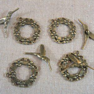 Fermoirs Toggles colibri oiseau bronze antique – lot de 4