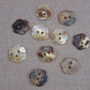 Boutons fleur coquille nacré 15mm – lot de 10 boutons de couture