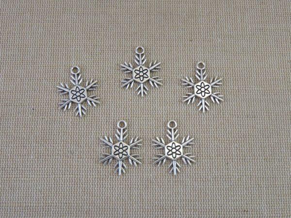 Pendentifs flocon de neige argenté 24mm en métal - lot de 5