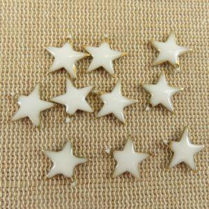 Breloques étoile blanche émaillé sequins 12mmx11mm – lot de 10