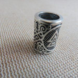 Perle colonne viking métal coloris argenté 15x11mm