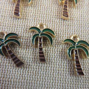 Breloques palmier métal émaillé pendentif 18mm – lot de 5
