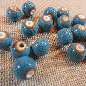 Perles céramique bleu 8mm ronde – lot de 10