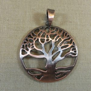Grand pendentif Arbre de vie cuivre avec bélière 71mm