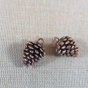 Pendentifs Pomme de Pin cuivre 20mm – lot de 4