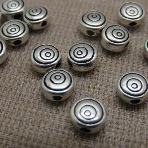 Perles gravé cercle spirale argenté 6mm en métal – lot de 10