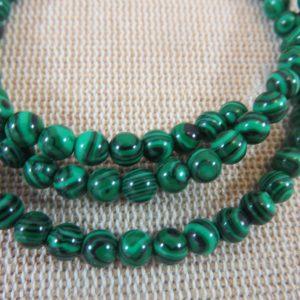 Perles Malachite synthétique 4mm verte rayé noir – lot de 10