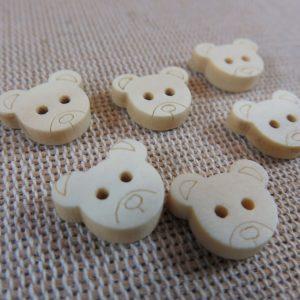 Boutons ourson bois brut naturelle – lot de 12 bouton de couture