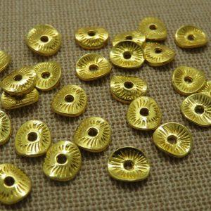 Perles rondelle doré ondulé 10mm en métal – lot de 20