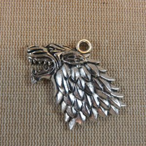 Pendentif loup métal argenté vieilli 44mm pour fabrication bijoux