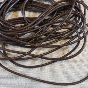 Cordon cuir marron 3mm rond – vendu par 5 mètres