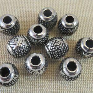 Perles acrylique tonneau métallisé gros trou – lot de 5