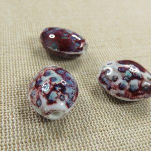Perles céramique ovale tacheté rouge bleu 19mm bohème – lot de 3