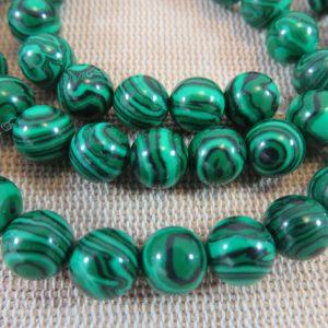 Perles Malachite synthétique 8mm verte rayé noir – lot de 10