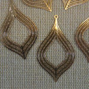 Pendentifs feuille doré goutte en cuivre 39mm – lot de 5