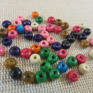 Perles rondelle en bois 4mm multicolore – lot de 50