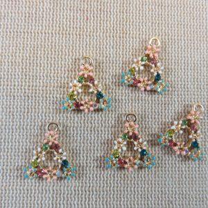 Breloques triangle fleur émaillé strass maximaliste – lot de 5
