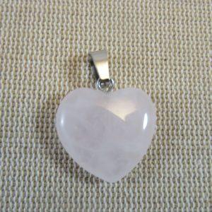 Pendentif cœur Quartz rose 20mm pour fabrication bijoux