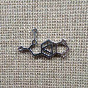 Pendentifs molécule chimie argenté 31mmx18mm en métal – lot de 5