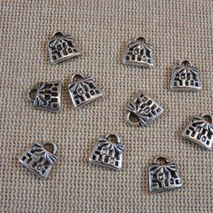 Breloques panier argenté 10mm en métal – lot de 5