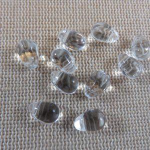Perles goutte transparente larme en verre 9x6mm – lot de 10