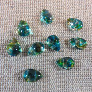 Perles goutte bleu vert larme en verre 9x6mm – lot de 10