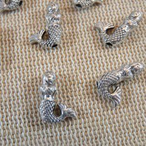 Perles sirène argenté gravé en métal 13x9mm – lot de 10