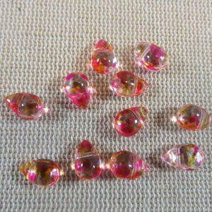 Perles goutte rose orange larme en verre 9x6mm – lot de 10