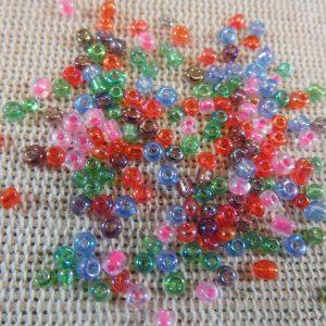 Perles de rocaille 2mm multicolore en verre – lot de 100