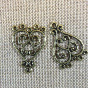 Pendentifs chandelier cœur bronze en métal – lot de 2