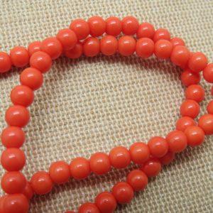 Perles en verre orange 4mm ronde – lot de 30