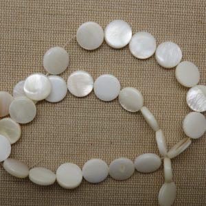 Perles palet nacre 11mm coquille naturelle – lot de 10