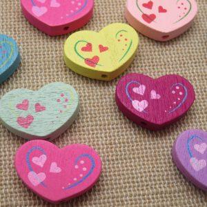 Perles cœur en bois 20x13mm multicolore – lot de 10