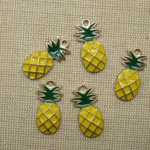 Breloques Ananas métal émaillé jaune vert pendentif 23mm – lot de 5