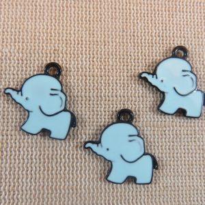 Pendentifs éléphant bleu kawaii émaillé 20mm – lot de 3