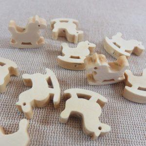 Perles cheval à bascule en bois brut 22x20mm – lot de 5