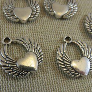 Pendentifs cœur ailes d'ange argenté en métal – lot de 5