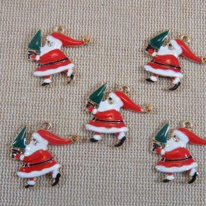 Pendentifs Père Noël métal émaillé avec son sapin – lot de 5