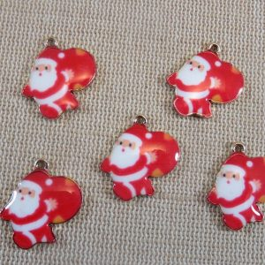 Breloques Père Noël pendentifs métal émaillé – lot de 5