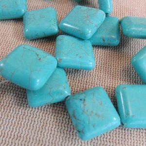 Perles céramique carré bleu effet pierre turquoise 15mm – lot de 4