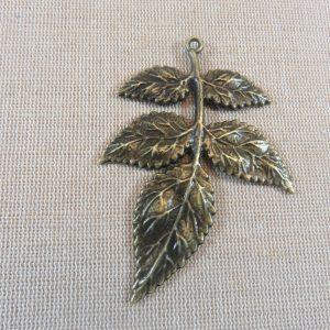 Grand pendentif feuille bronze 79x56mm