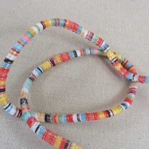 Cordon polyester rayé 7mm multicolore bracelet hippie – vendu au mètre