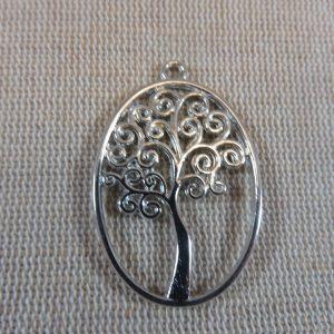 Pendentifs arbre de vie argenté ovale – lot de 2