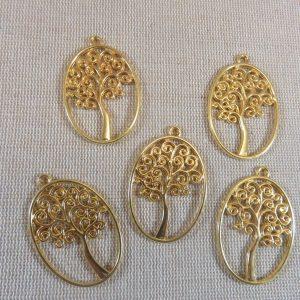 Pendentifs arbre de vie doré ovale – lot de 2