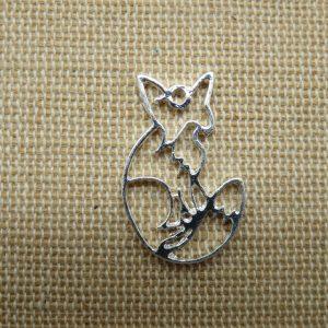 Pendentifs renard origami argenté en métal – lot de 2