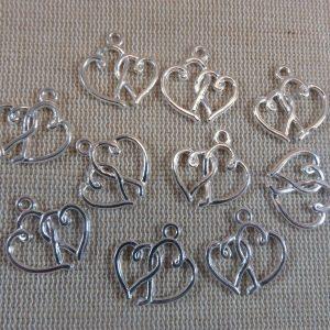 Pendentifs cœur entrelacé argenté 19mm en métal – lot de 5