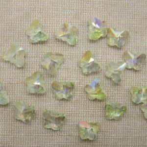 Perles papillon en verre jaune translucide 10x8mm – lot de 10